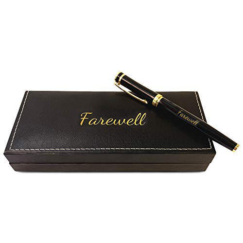 Farewell Gift, Retirement Pen, Congrats, Stunning Luxury Gift Set with Engraved Gold and Black Trim Pen and Pleather Case - Memorable Gift for Women, Men, Boss, Coworker, Friend, Family - Feliss