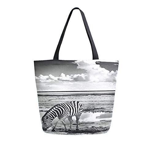 BIGJOKE - Bolsa de lona con estampado de cebra de África, tamaño grande, para mujer, casual, bolsa de hombro, reutilizable, para compras, bolsa de almacenamiento portátil para exteriores