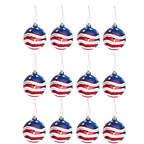 Hanging Ball Christmas Ball Ornaments Christmas July 4th Ball Hanging Independence Day Party Decor Christmas Ornaments Patriotic Ball Ornaments Holiday Wedding Tree Decorations 12PCS 8cm
