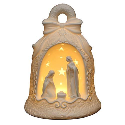 Dekohelden24 - Portacandela Antivento a LED con Famiglia Santa, Forma Selezionabile Tramite Menu a Tendina. Glocke