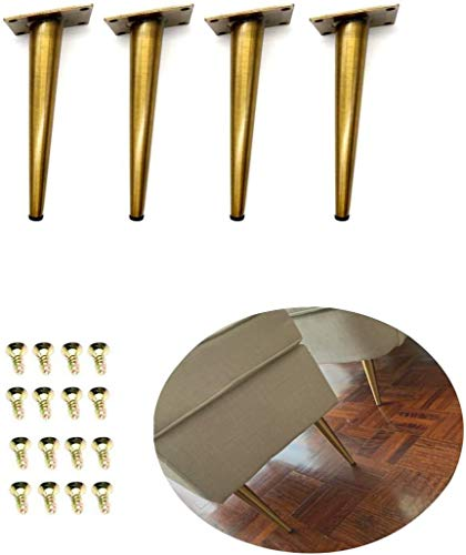 4Pcs 7.8'' Gold Furniture Legs Cabinet Cupboard Metal Table feet - Verified Lab Test Supports + 1600 pounds Sofa Bar Table Bed Legs