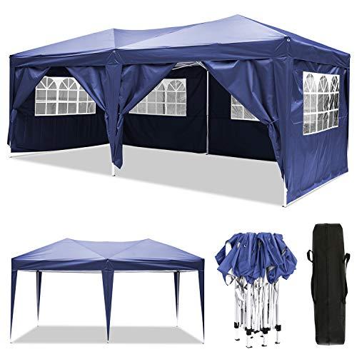 3x3m / 3x6m Pavillon, wasserdichter Gartenpavillon mit 4 Seitenwänden, verstellbares Festzelt mit Tragetasche, pulverbeschichteter Stahlrahmen für Strand / Sofortunterkunft / Flohmarkt / Camping