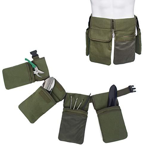 Naponior Outdoor Gartengeräte Aufbewahrungsgürtel mit 4 Taschen Garten Werkzeugtasche mit Verstellbarem Gürtel wasserdichte Werkzeugtasche für Gartengeräte