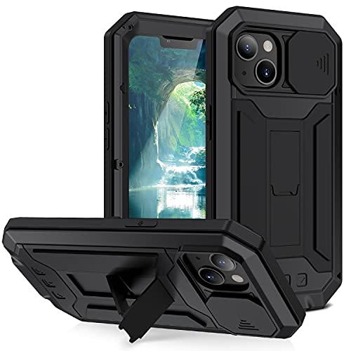Funda resistente de metal resistente para iPhone 13, 6,1 pulgadas, con protector de pantalla, a prueba de golpes, cubierta de cámara deslizable, soporte plegable, a prueba de polvo, negro
