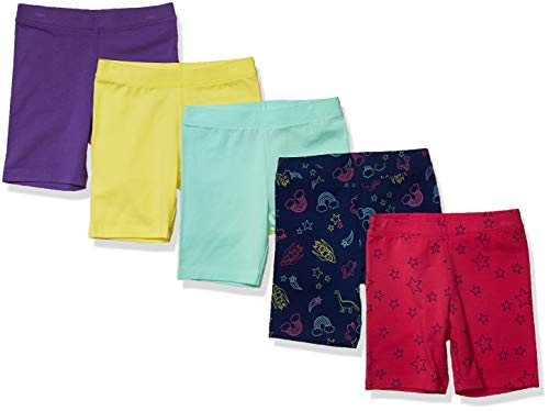 Amazon Brand - Spotted Zebra Kids Girls Midi Bike Shorts, 5-Pack Space and Stars, X-Small