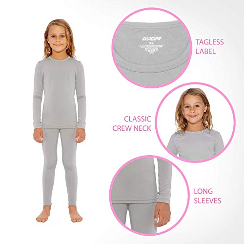 Rocky Thermal Underwear for Girls (Thermal Long Johns Set) Shirt & Pants, Base Layer w/Leggings/Bottoms Ski/Extreme Cold (Black - X-Small)