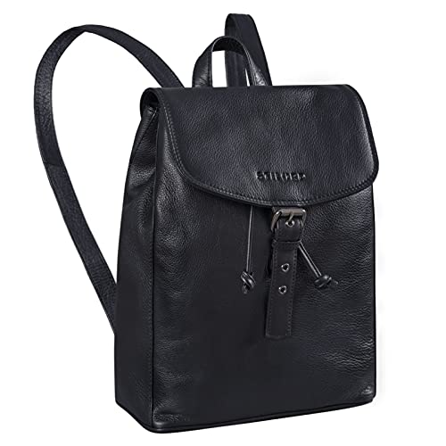 STILORD 'Valerie' Business Rucksack Damen Leder für DIN A4 und für 13,3 Zoll MacBook Großer Daypack Unirucksack Vintage Leder, Farbe:schwarz