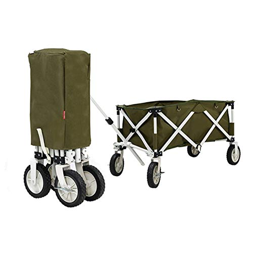 4 Wheels Portable Compact Folding Wagon, Removable Fabric, Easy to Clean, Stable Safety Wear Resistant Tear Resistance, for Party Camping Barbecue Hike