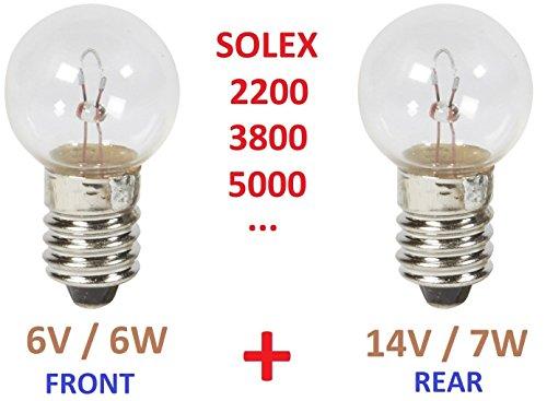 MOPED SOLEX BIRNE : 6V 6W + 14V 7W E10 VELOSOLEX 2200 3300 3800 5000 MOTORRAD GLÜHBIRNE LAMPE GLÜHLAMPE RÜCKLICHT BREMSLICHT SCHEINWERFER VINTAGE FAHRRAD