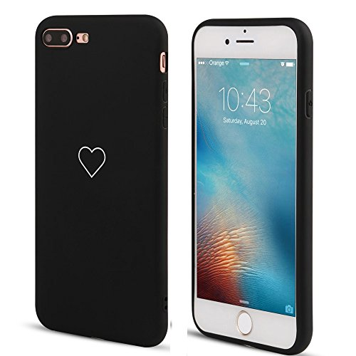 LAPOPNUT Hülle für iPhone 7 Plus/iPhone 8 Plus Cute Love Heart Hülle Matt Soft Silicone Slim TPU Handytasche Flexible Schutzhülle HandyHülle Back Cover