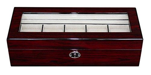 Edle Uhrenbox Holz Für 5 Uhren Sichtfenster Echtglas Kirsche Uhrenschatulle Uhrenvitine