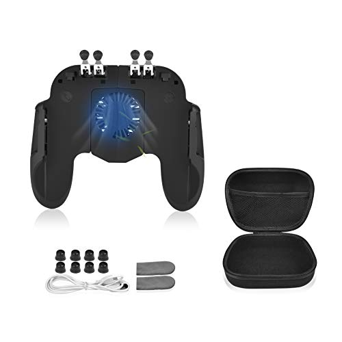 "6 Finger Mobile Gaming Controller with Cooling Fan & Finger Sleeve &Travel Carrying case,for PUBG Call of Duty Mobile Game Controller Gaming Grip Trigger for 4.7-6.5"" iOS Android Phone"