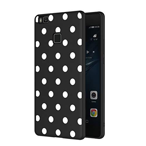 ZhuoFan Funda Huawei P9 Lite Cárcasa Silicona Ultrafina Negra con Dibujos Diseño Suave TPU Gel Antigolpes de Protector Piel Case Cover Bumper Fundas para Movil Huawei P9Lite, Lunares Blanc