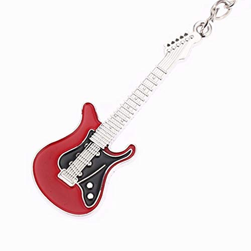 Mvude Guitar Keychain Electric Rock Guitar Charm Key Ring Gift,Big red