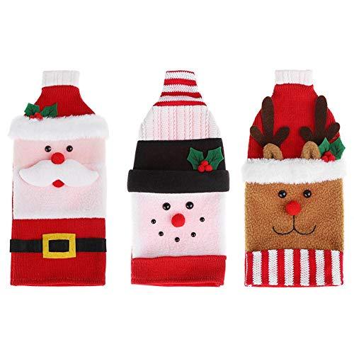 UEB 3Pcs Weihnachtsmann Schneemann Elch Weihnachten Weinflaschen Abdeckung Taschen Weinflaschenbezug Flaschenhalter Xmas Party Deko Tischdeko