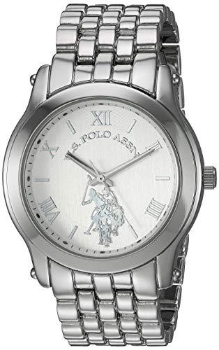U.S. Polo Assn. Reloj analógico de cuarzo para mujer con correa de aleación, plata, 20 (modelo: USC40160AZ)