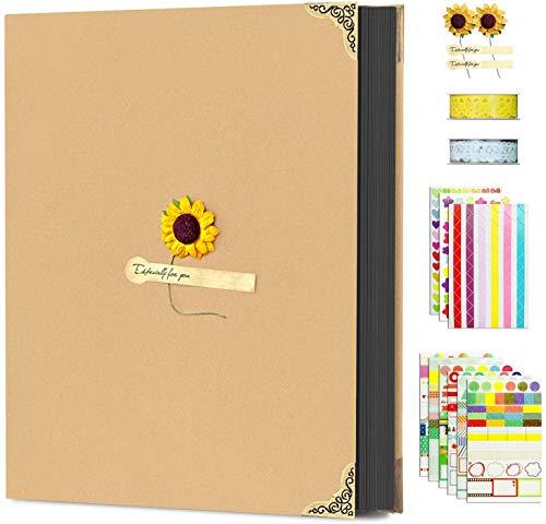 Adkwse Fotoalbum Zum Selbstgestalten, DIY Fotobuch Mit Geschenk Box, Foto Album Fotoalben Mit Säumen, Scrapbook Für Hochzeit, Familie, 21x 26.5X 4CM, 60 Schwarz Seiten