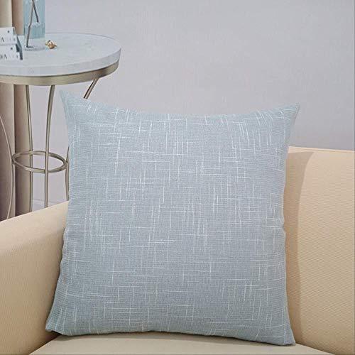 Cojín para sofá, hogar, oficina, siesta, cojín de coche, grueso, lino, color azul claro, funda de almohada de 60 x 60 cm