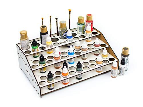 Soporte pinturas modelismo 2021 organizador pinturas modelismo accesorios maquetas warhammer kit paint stand rack organizar botes pinturas acrílicas pinceles miniaturas (A: Frontal con guías)