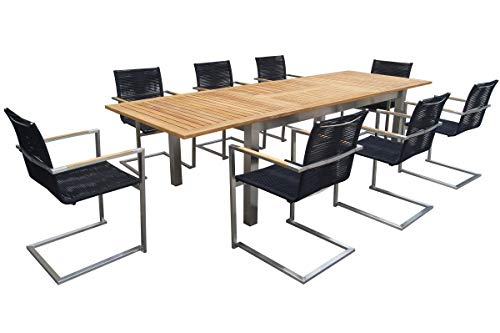 OUTFLEXX - Juego de Mesa y sillas de jardín (Acero Inoxidable y Teca, Mesa Extensible de 200 a 300 x 100 cm, 8 balancínes)