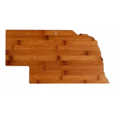 """Totally Bamboo State Cutting & Serving Board – """"NEBRASKA"""", 100% Organic Bamboo Cutting Board for Cooking, Entertaining, Décor and Gifts. Designed in the USA!"""