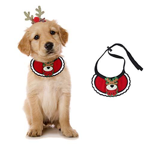 voopet Hundehalstuch, Weihnachtskostüm für Hunde und Katzen, verstellbar, mit Rentier-Geweih, Haarspange für kleine und mittelgroße Hunde und Katzen, Small, Elch-Lätzchen mit goldfarbenem Clip