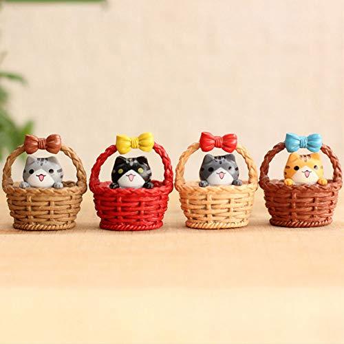 Romote Direct Gatos Miniatura Figuras Micro Paisaje Basket Cat Miniaturas Linda Hada del Jardín Adornos Dollhouse 4 Piezas