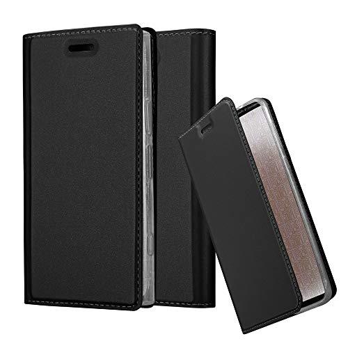 Cadorabo Hülle für Sony Xperia XZ1 COMPACT - Hülle in SCHWARZ – Handyhülle mit Standfunktion & Kartenfach im Metallic Erscheinungsbild - Hülle Cover Schutzhülle Etui Tasche Book Klapp Style