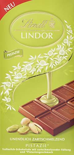 Lindt & Sprüngli Lindor Tafel Pistazie, Vollmilch-Chocolade mit unendlich zartschmelzender Pistazienfüllung, glutenfrei, 10er Pack (10 x 100 g)