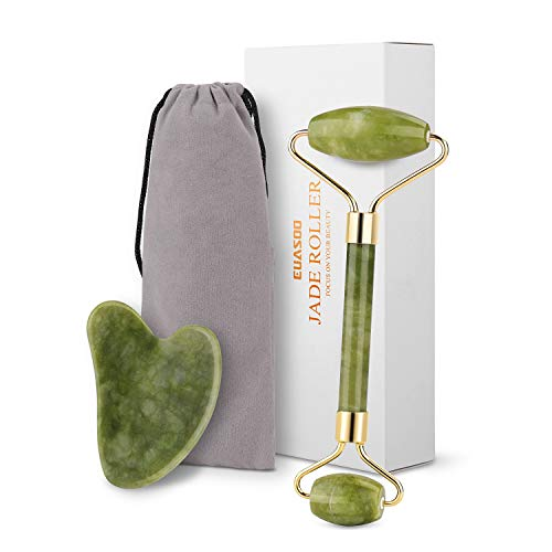 Jade Roller for Face, Jade Roller and Gua Sha Tools Set, EUASOO 100% Real Natural Nephrite Jade Roller Facial Roller Massager for Face Eye Neck Body – Anti Aging Treatment
