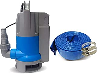 Schraiberpump Sump Pump for Clean/Dirty Water 1/2hp w/built in Automatic ON/OFF (no external float switch needed) 2100GPH, 16'Head, Thermal Protector, Copper Winding INCLUDES 25ft of PVC LAY FLAT HOSE