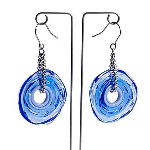 Pendientes de cristal de murano en azul   Cadena y colgante de acero inoxidable   Joyas de vidrio   Regalo para Aniversario y Boda   Regalo de cumpleaños   Regalo personalizado para navidad.