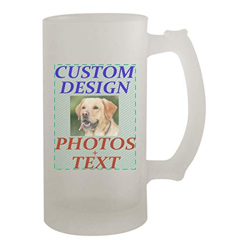 Custom Printed 16oz Frosted Glass Beer Stein Mug Cup CP06 - Add Your Image...