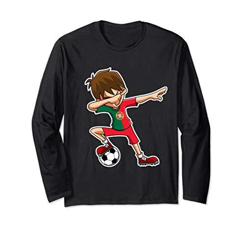 Dabbing Soccer Boy Portugal Trikot, Portugiesisch Kinder Langarmshirt