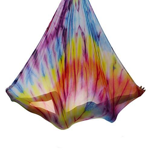 Aerial Yoga Hammock 5.5 Yards Premium Aerial Silk Fabric Yoga Swing for Antigravity Yoga Inversion Include Daisy Chain,Carabiner and Pose Guide (Mandala)