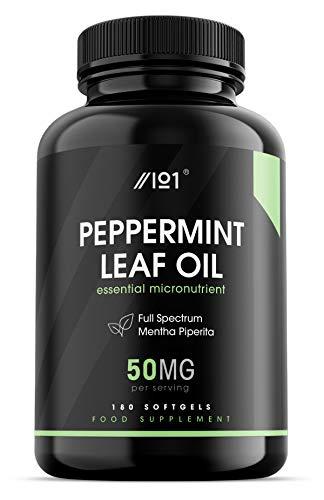 Peppermint Leaf Oil Softgel - 50mg - FS Mentha Piperita - 180 Softgels - No Additives — Non-GMO, Gluten Free.