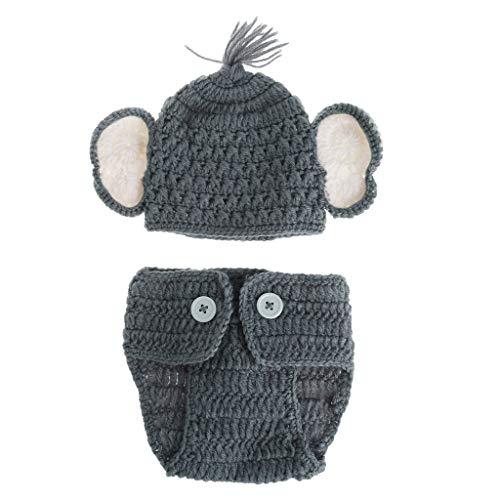 Matissa recién Nacido Baby Girl/Boy Crochet Knit Costume Foto Fotografía Prop Sombreros Trajes (bebé Elefante (2))
