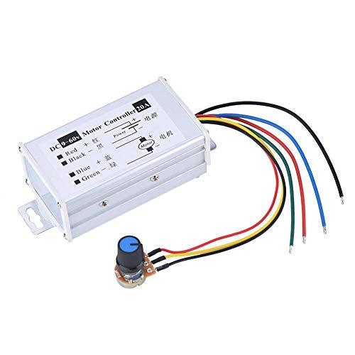 Controlador de velocidad del motor de CC, 9-60 V CC 20A Regulador de velocidad del motor de CC de alta potencia PWM Regulador de velocidad variable sin escalonamiento Tablero interruptor