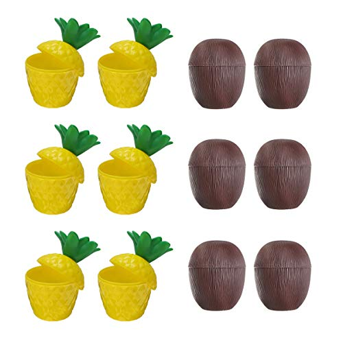 ZHENWOFC 12 Stücke Kunststoff Kokosnuss Ananas Tasse w/Straw Tropical Hawaiian Luau Hula Strand Pool Party Cup Decor Hardware-Ersatzteile