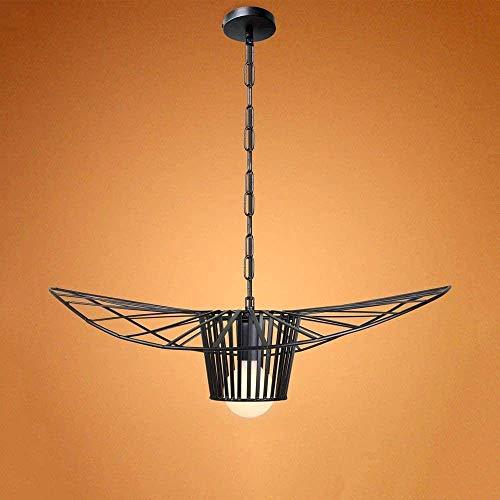 N/Z Home Equipment Jaula de Alambre de Metal Pintado de Negro Individual Industrial Colgante Antiguo Usado para Cocina Isla Mesa de Comedor Granja Fácil a Alto