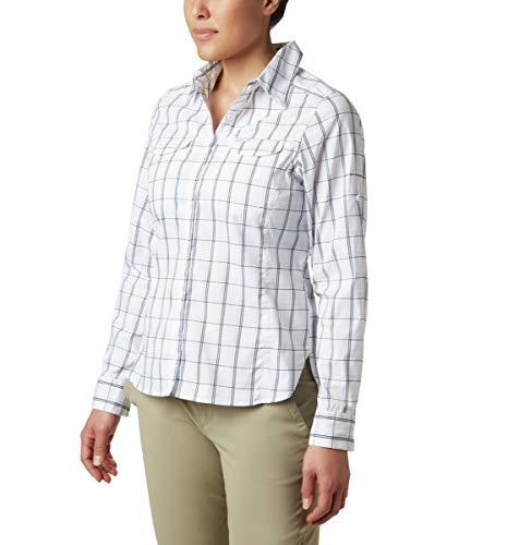 Columbia Silver Ridge Lite Langarmshirt für Damen, kariert, Damen, Silver Ridge™ Lite Plaid Long Sleeve Shirt, Weißer Schottenkaro, X-Small