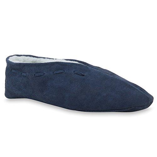 stiefelparadies Warm Gefütterte Damen Herren Haus Pantoffeln Bequem Flats Leder Schuhe 110470 Dunkelblau 40 Flandell