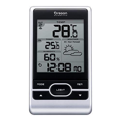 Oregon Scientific Wetterstation Funk mit Außensensor OSBAR206X mit Anzeige für Temperatur, Luftfeuchtigkeit, Frostalarm und Wettervorhersage für 12 Stunden