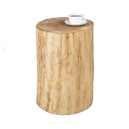GREENHAUS Baumstamm Beistelltisch ohne Rinde 30-35 cm Eiche massiv Handarbeit und Massivholz aus Deutschland Couchtisch