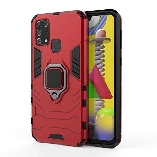 Kompatibel mit Samsung Galaxy M31 Hülle Ultraslim 2 in 1 Hart PC+Soft TPU Silikon handyhülle Lightweight Anti-Drop Weich Bumper schutzhülle mit Slim fit magnetisch 360 ° Ring Halterung Case (rot)