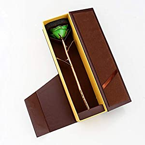 heepdd deep green gold rose, green gold dipped real rose gifts best wedding anniversary valentines day love gift for wife girlfriend spouse silk flower arrangements
