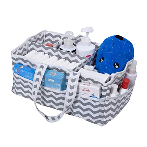 Granty Baby Diaper Caddy Organizer, Portable Large Winaper Caddy Tote, Faldable Felt Nursery Diaper Storage Box for Wipes Toys Storage Basket