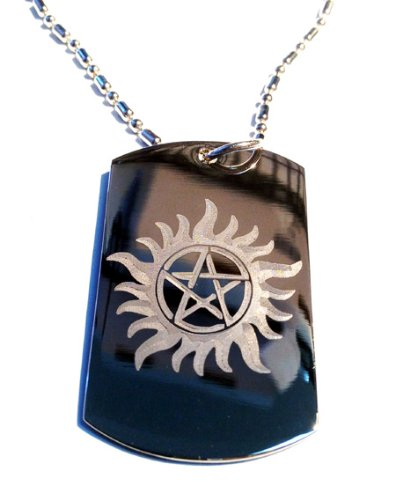 Flaming SUN Pentagram Star Good Protection Symbol Wiccan Religion Religious Logo Symbol - Military Dog Tag Luggage Tag Key Chain Metal Chain Necklace
