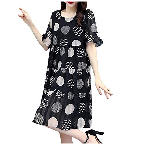 Ladies Dress,Meet&sunshine Women Fashion Summer Point Printing Short Sleeve Loose Knee Length Dress (XXXXL)