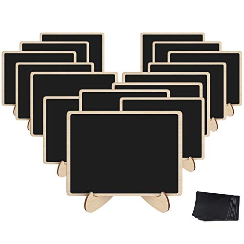 Korlon 15 Pack Mini Chalkboard Signs, Wood Chalk Signs with Easel, with 15 Pcs Replacement Stickers, for Weddings Events, Office, Mini Food Menu Board